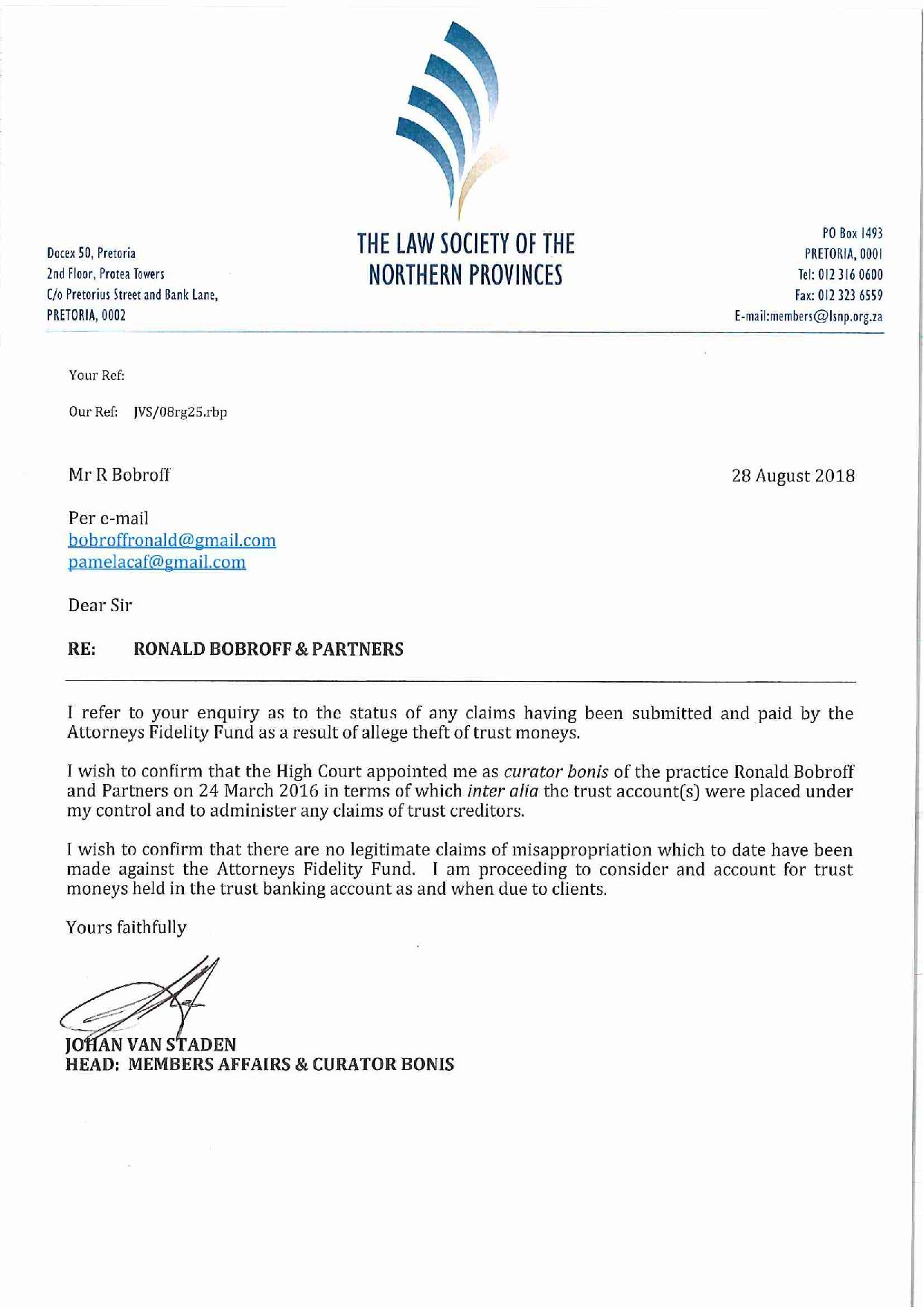 Annexure 21 Letter from Court appointed curator Johan van Staden dated 28 August 2018 page 001 1