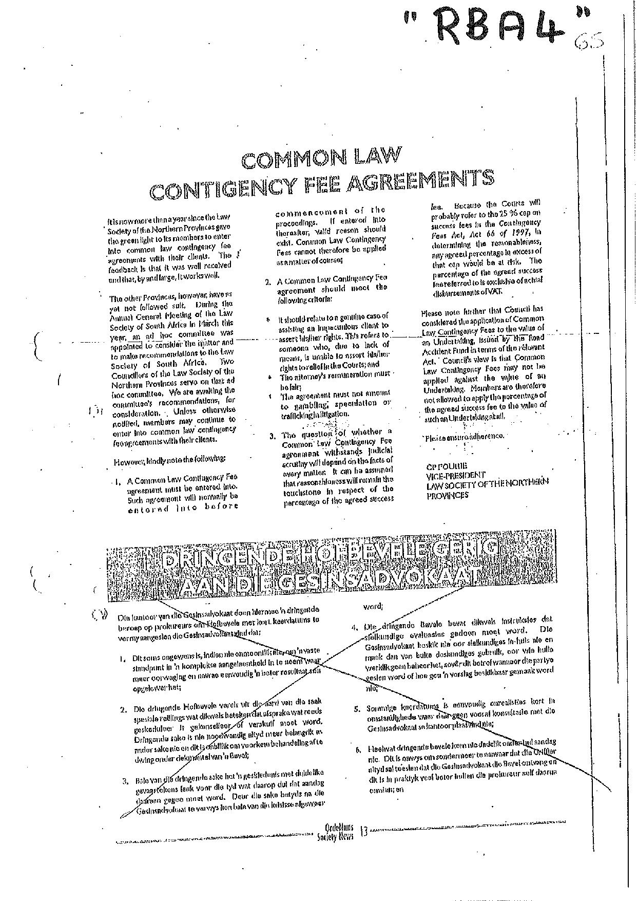 Annexure RBA4 Common Law Contingency Fee Agreements Further confirmation of ruling by LSNP page 001