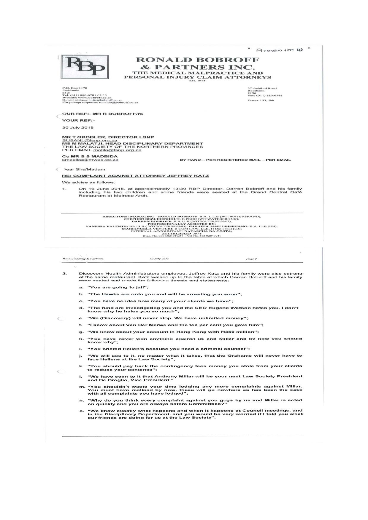 Letter of complaint page 001